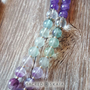 Closeup of crystals for anxiety in the Emotional Freedom Mala by Sacred Skaia are amethyst, fluorite, clear quartz and labradorite or sandalwood. Also for use with EFT healing.