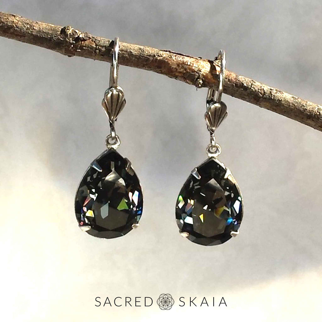 Fortuna Teardrop Earrings in Black Diamond - Sacred Skaia