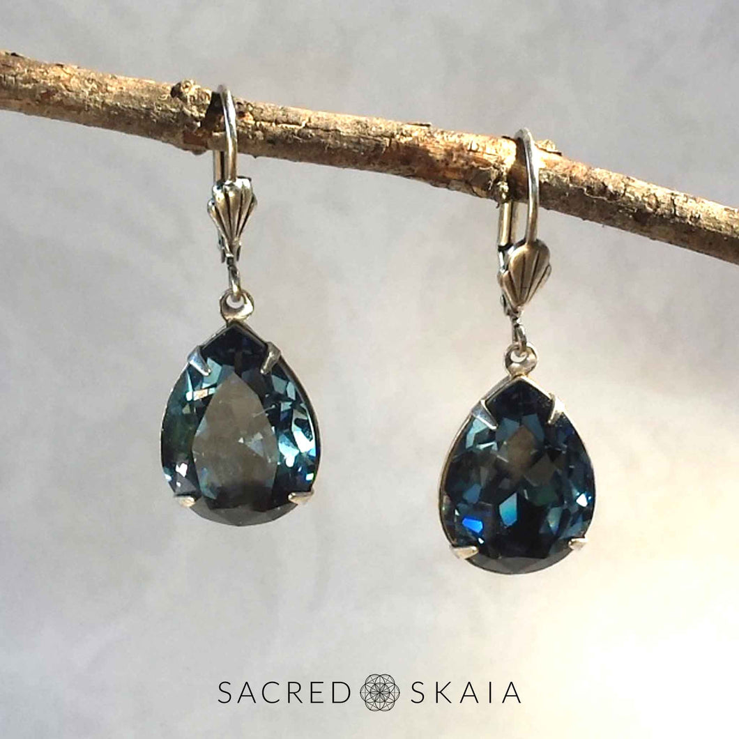 Fortuna Teardrop Earrings in Denim Blue - Sacred Skaia