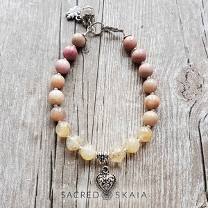 Nurture: Citrine, Sunstone, Rhodonite & Rose Quartz Mala Bracelet