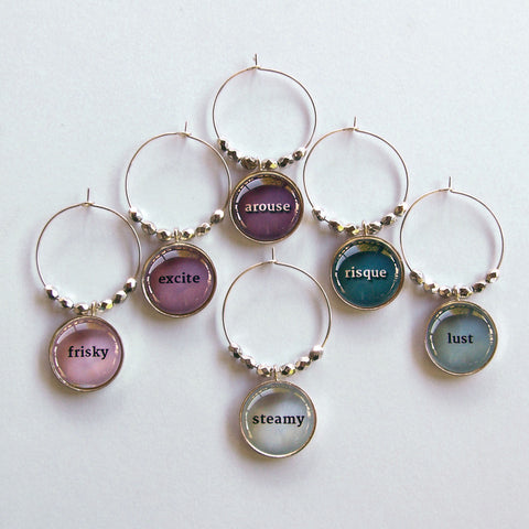 Racy Words 2 Wine Charms
