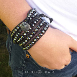 Rhiannon Five Wrap Leather Bracelet with Hematite