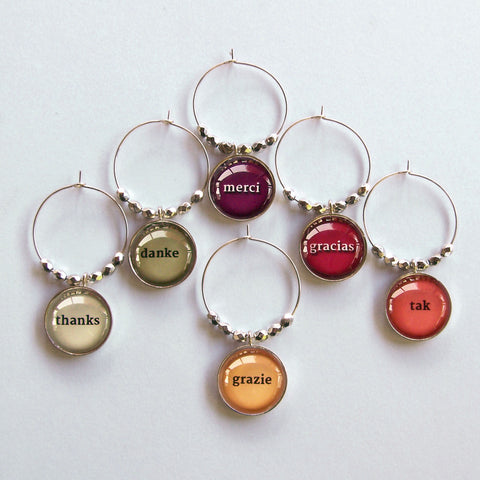 Thankful Wine Charms