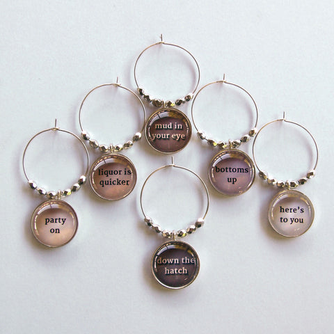 Toast to you wine charms