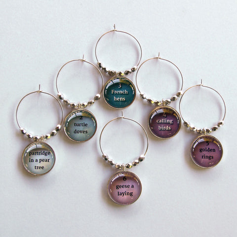 Twelve days of Christmas wine charms
