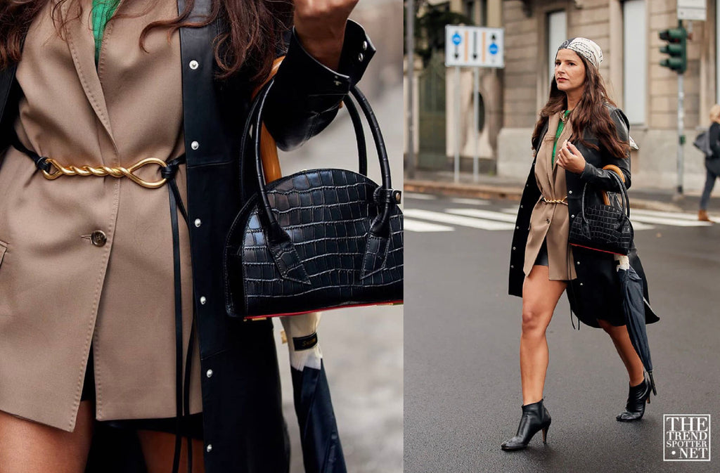 Gili Biegun joysworld_ the editor-in-chief of joys magazine, was styled with JÚNEE black embossed croc ESTERA bag during Milan Fashion Week.  @thetrendspotter.