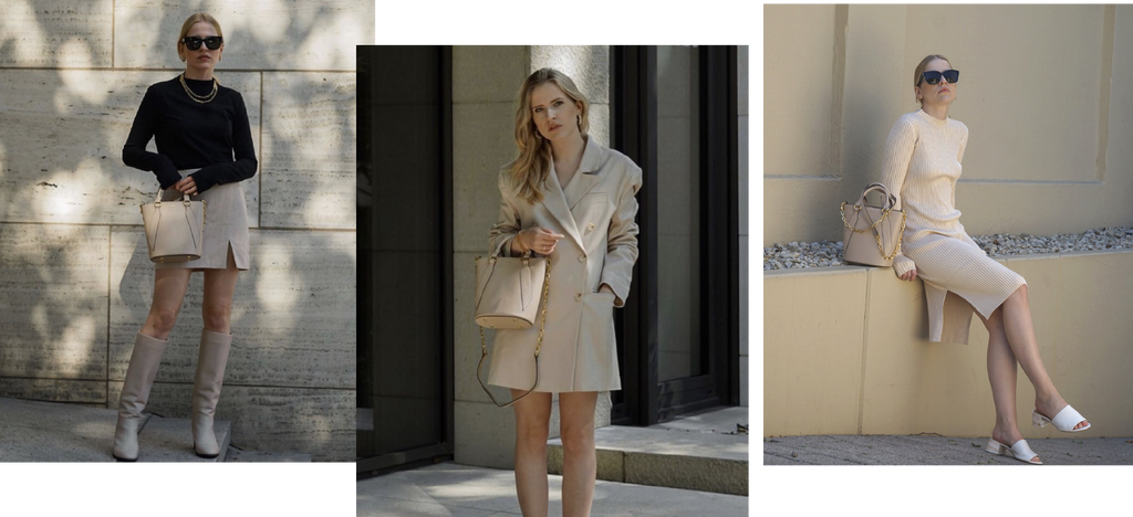 Amazing looks from German influencer Nicola Jana Witt @nicolajanawitt for styling inspirations of the super versatile JÚNEE beige FREYJA bucket bag. Time to update your wardrobe with this lovely baby