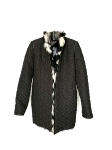 Black Dyed Feathered Fox Reversible Jacket