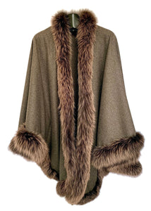 Brown Cashmere Wool Blend Cape W/ Fox Trim