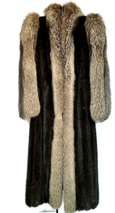 Dark Ranch Mink Coat W/ Fox Tux & Sleeves