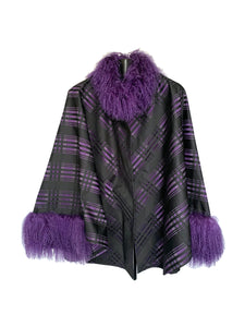Purple Plaid Spring Cape W/ Mongolian Lamb Trim