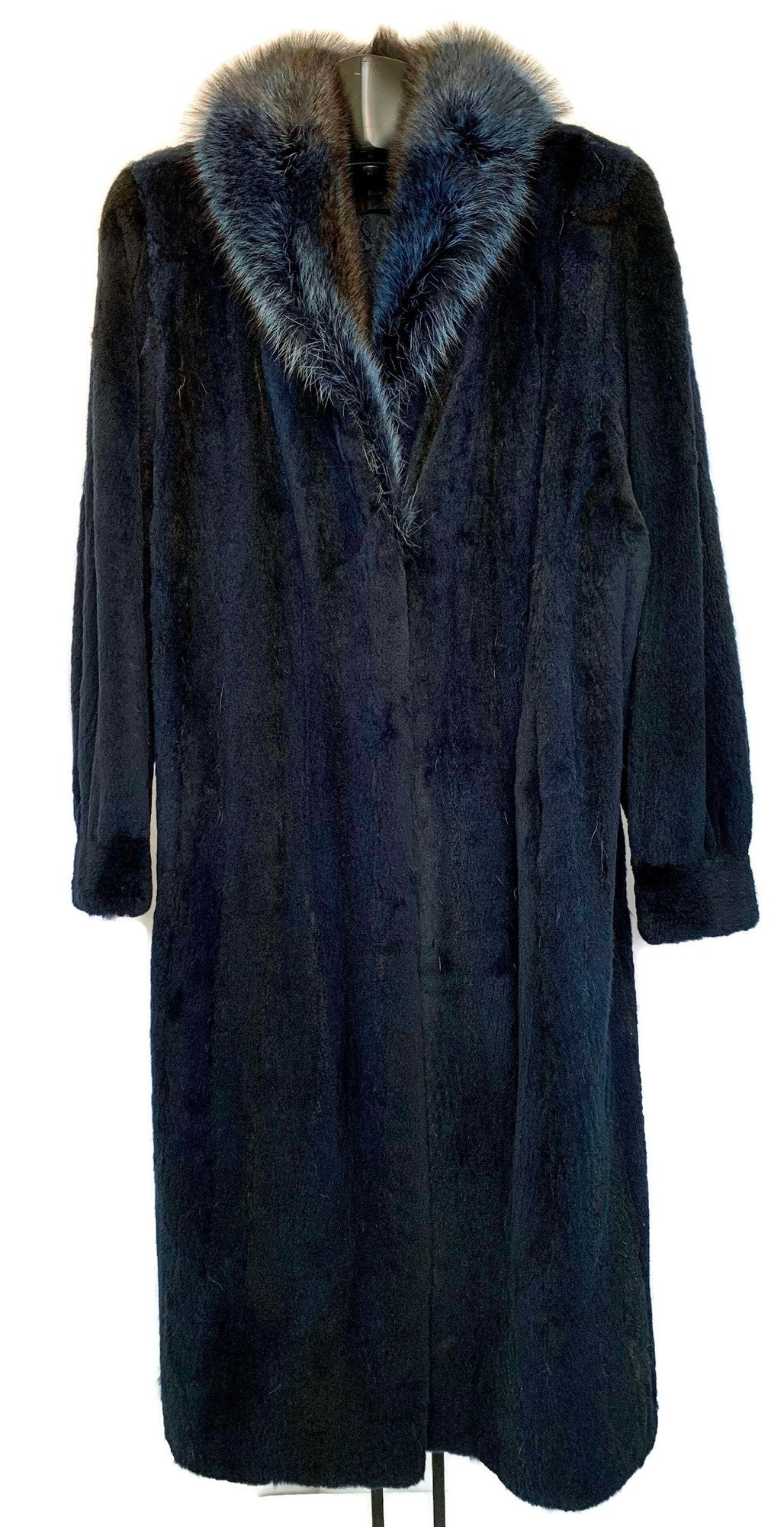 Blue Sheared Raccoon Coat W/ Longhair Collar