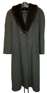 Grey Cashmere Coat W/ Sheared Mink Collar