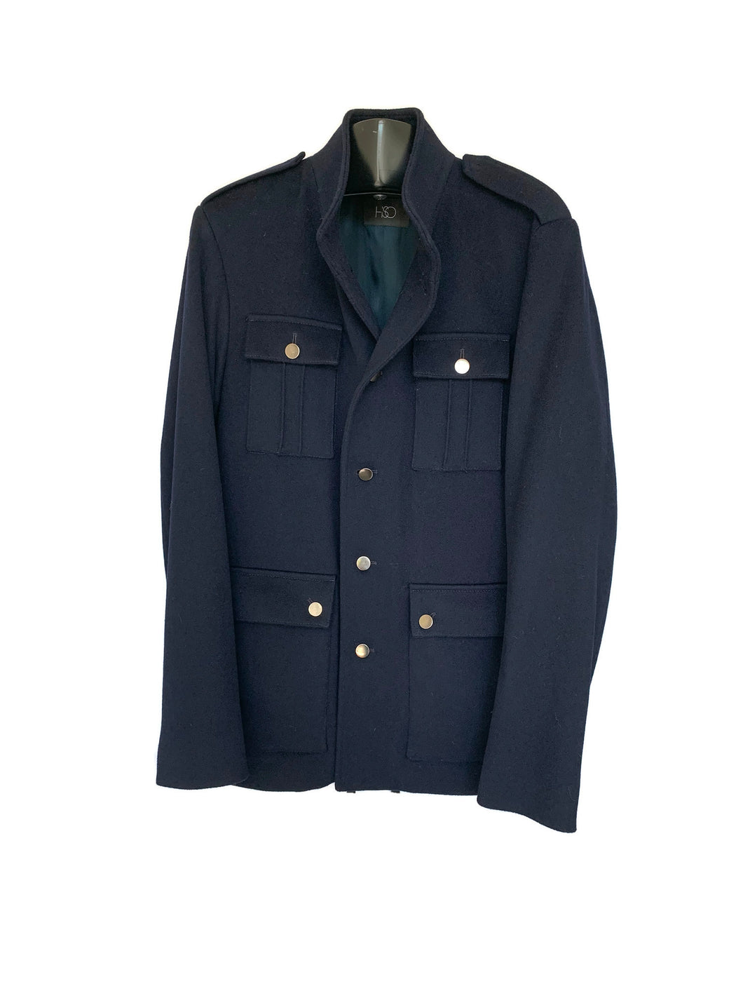 Men's Navy Wool Military Jacket