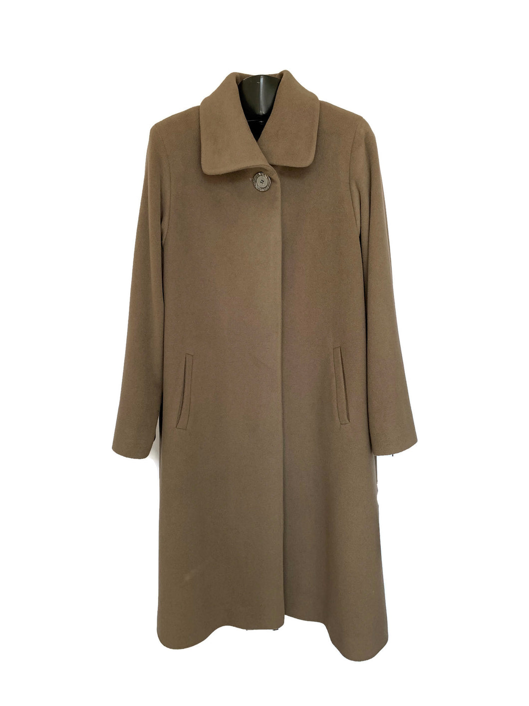 Dark Taupe Fly Front 7/8 Coat