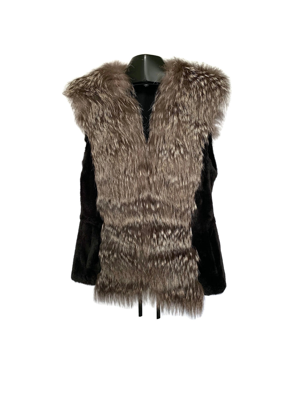 Black Rabbit Vest W/ Silver Fox Trim