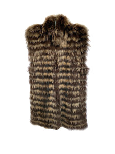 Brown Tanuki Raccoon Feathered Vest