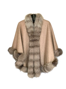 Taupe Cashmere Cape W/ DTM Fox Trim