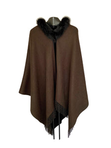 Black & Brown Reversible Cashmere Wrap W/ Black Fox Collar