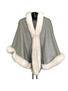 Light Grey Cashmere Cape W/ Blue Fox Trim