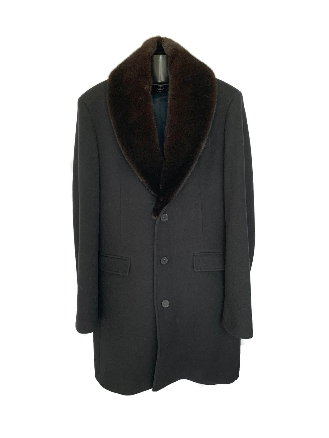 Men's Black Cashmere / Wool Coat W/ Detachable Mink Collar