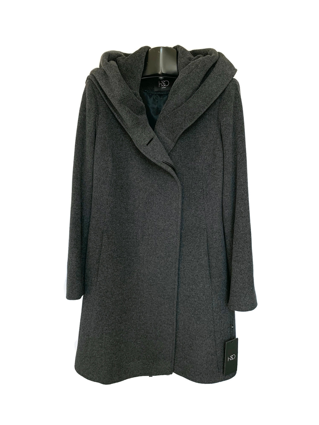 Charcoal Wool / Cashmere Coat W/ Collar/Hood