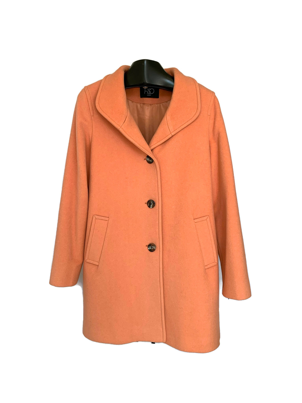 Apricot Cashmere / Wool Stand Up Collar Coat