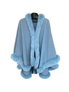 Baby Blue Cashmere / Wool Cape W/ DTM Fox