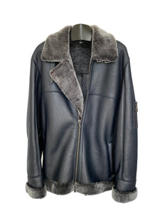 Men's Blue Shearling Bomber Jacket