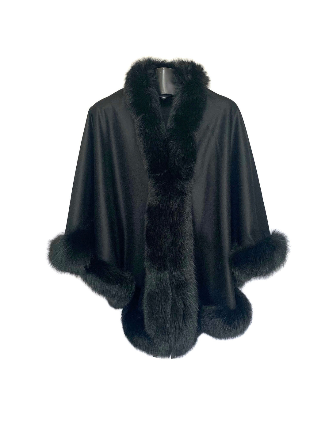 Black Cashmere Cape W/ DTM Fox