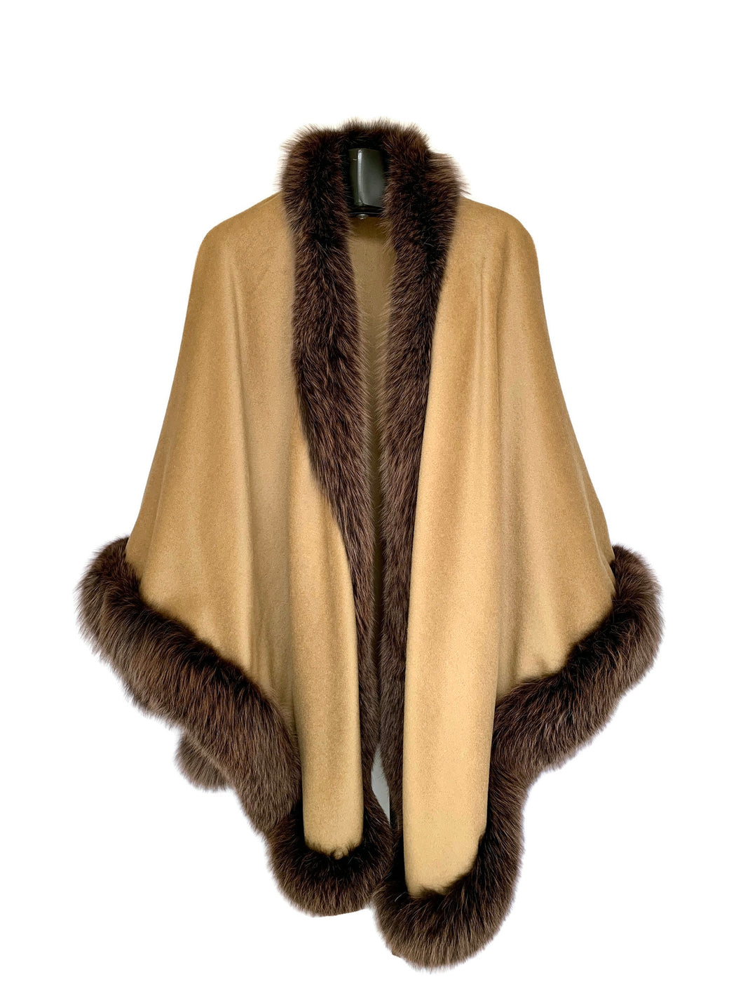Camel Alpaca Wool Blend Cape W/ Fox Trim