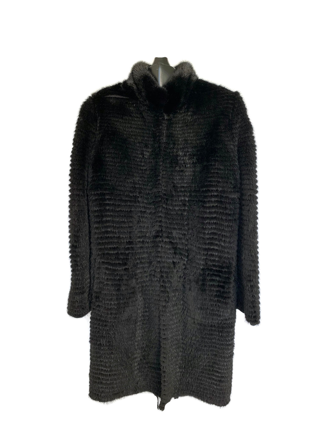Black Dyed Feathered Mink Jacket Reversible Cashmere Knit