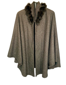 Brown Cashmere & Wool Cape W/ Chinchilla Trim Roses