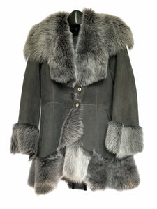 Grey Shearling Coat W/ Toscana Trim
