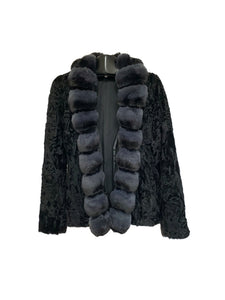 Black Dyed Karakul Jacket W/ Steel Dyed Chinchilla Trim