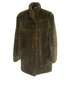 Army Green Dyed Sheared Beaver Reversible Jacket