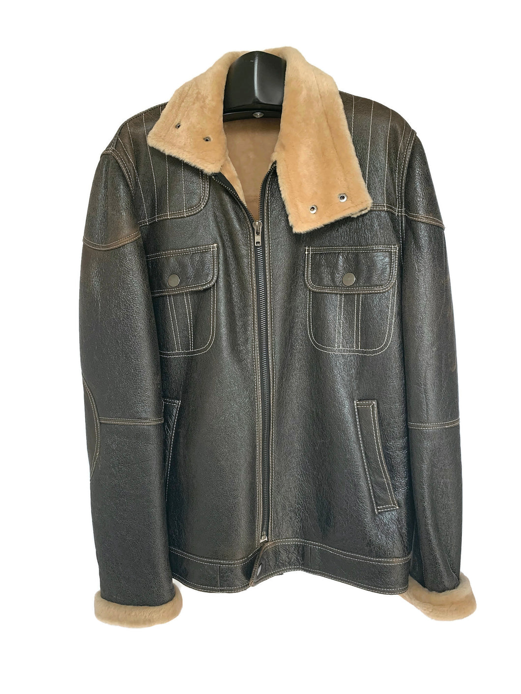 Men's Brown Nappa Leather Aviator Jacket