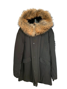 Black Parka W/ Shearling Lining & Raccoon Collar/ Hood