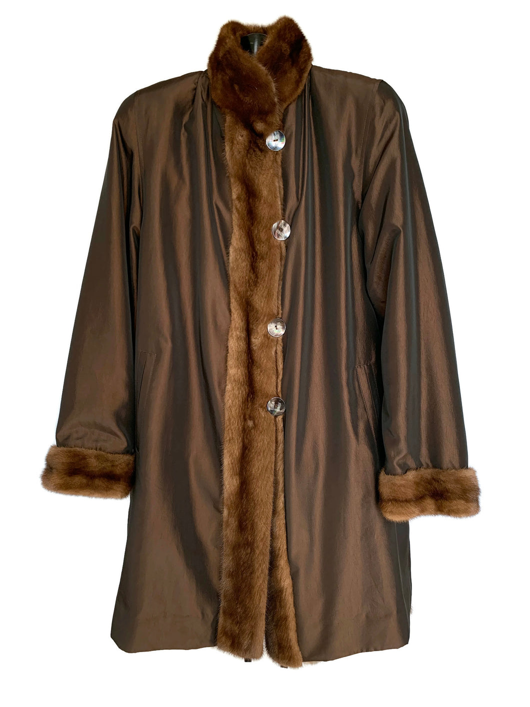 Brown Squirrel Coat Reversible Taffeata Lining W/ Mink Trim