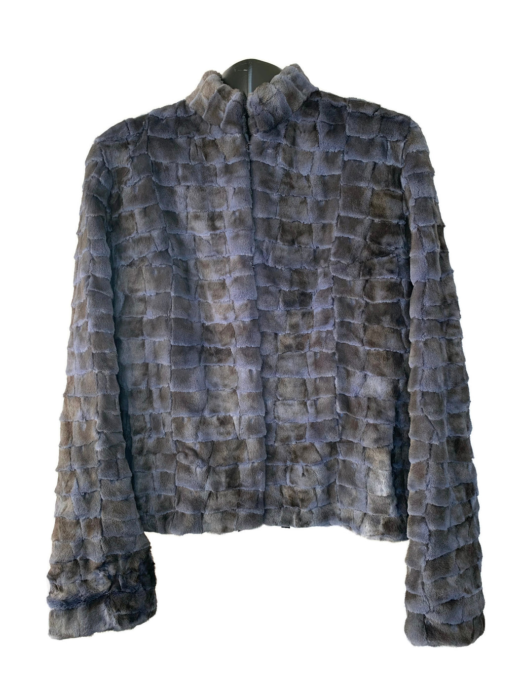 Blue Denim Sculptured Sheared Mink Jacket