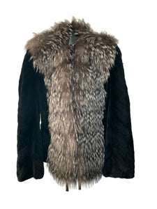 Black Sheared Mink Paw Jacket W/ Silver Fox Trim