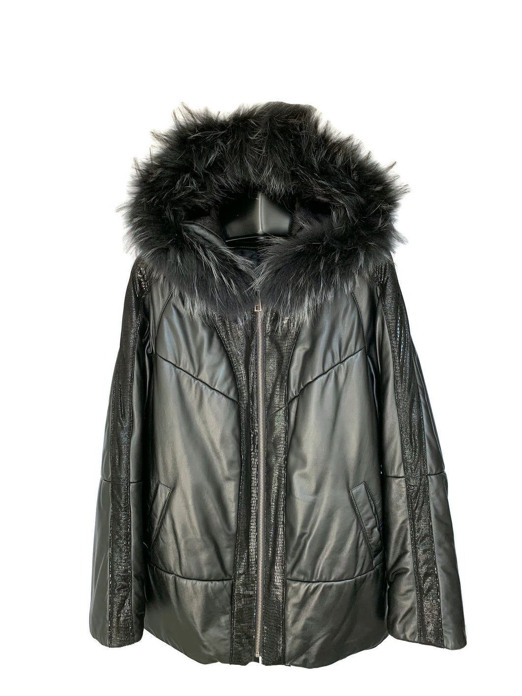 Black Lambskin Jacket W/ Raccoon Trim