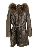 Load image into Gallery viewer, Brown Croco Suede Coat W/ Raccoon Trim Hood & Belt
