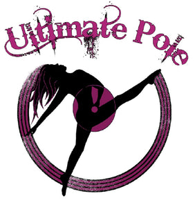 ultimate pole logo with female dancer purple