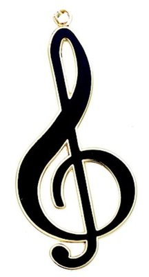 Keyring Treble Clef Black & Gold