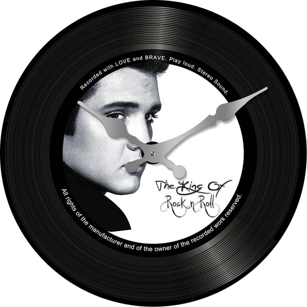 Clock – Elvis the King of Rock and Roll on a Vinyl Record