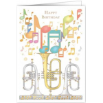 Greeting Card Happy Birthday Bugles