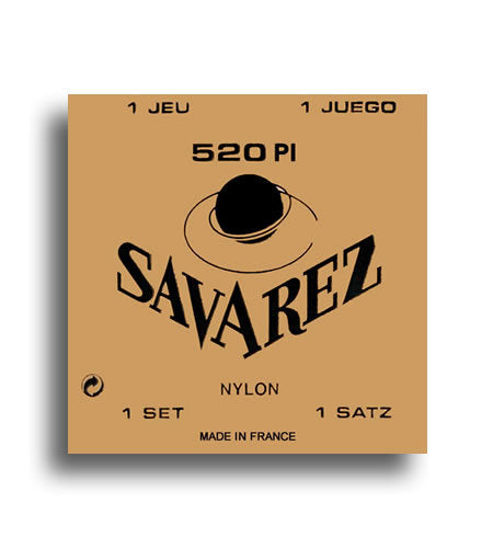 Savarez 520PI Traditional High Tension with Wound E, B & G Classical Guitar String Set Plastic Wound 1st, 2nd & 3rd Strings