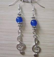 Treble Clef Earring with Blue Bead