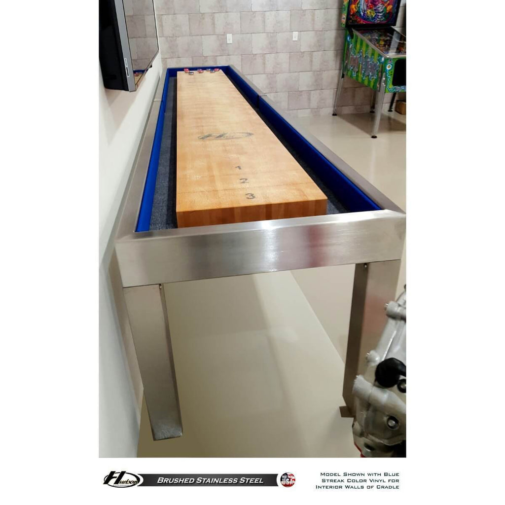 Hudson Brushed Stainless Steel Shuffleboard Table 9'-22' with Custom Finish Options